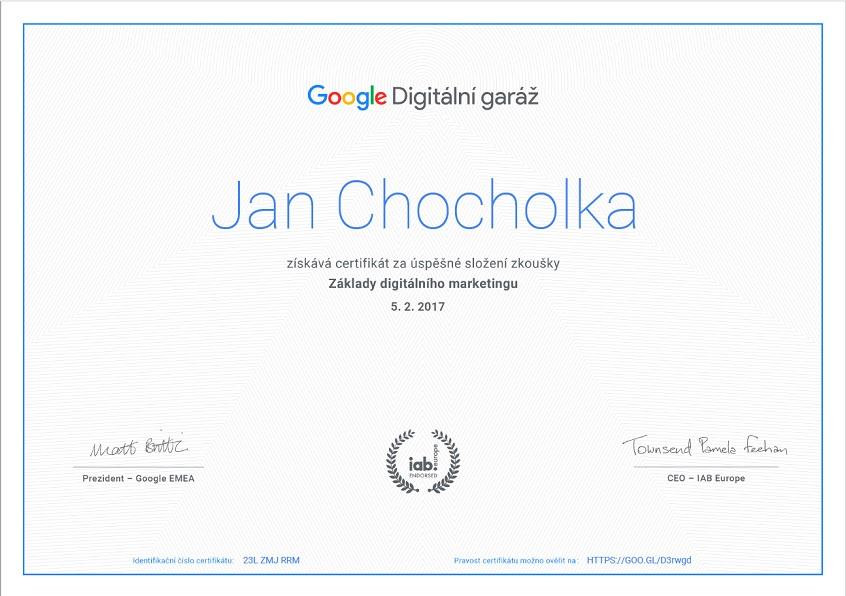 Google certifikát